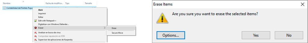 Eraser - Borrado seguro de archivos